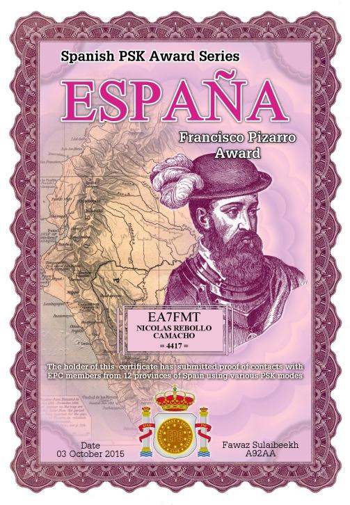 EA7FMT-ESPANA-PIZARRO DIPLOMA