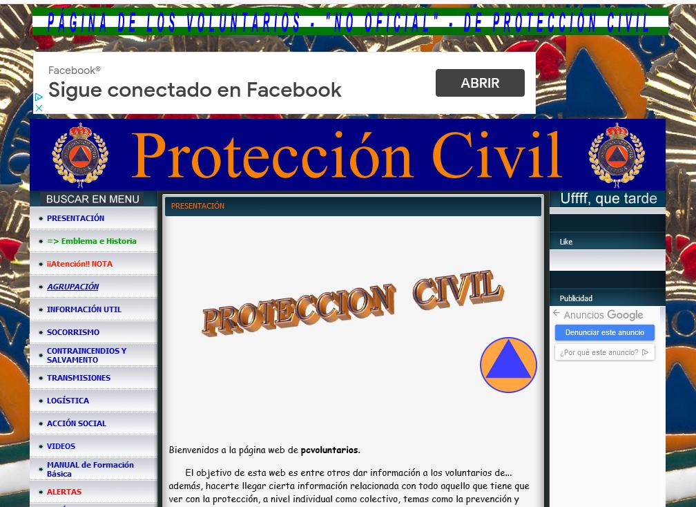 PROTECCIÓN CIVIL PAGINA DE LOS VOLUNTARIOS NO OFICIAL